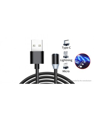 8-pin/Micro-USB/USB-C to USB 2.0 Magnetic Flowing LED Light Up Charging Cable